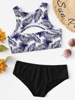 Cutout Front Palm Leaf Print Bikini Set