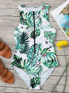 Exposed Zip Front Tropical Swimsuit