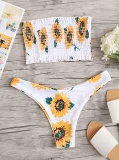 Sunflower Print Shirred Bandeau With High Leg Bikini