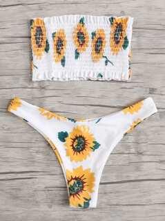 Sunflower Print Shirred Bandeau Bikini Set