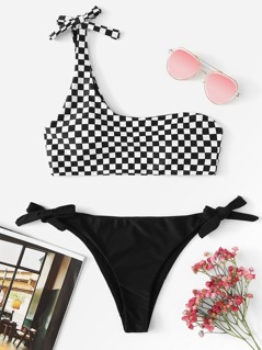 One Shoulder Checked Print Top With Knot Side Bikini