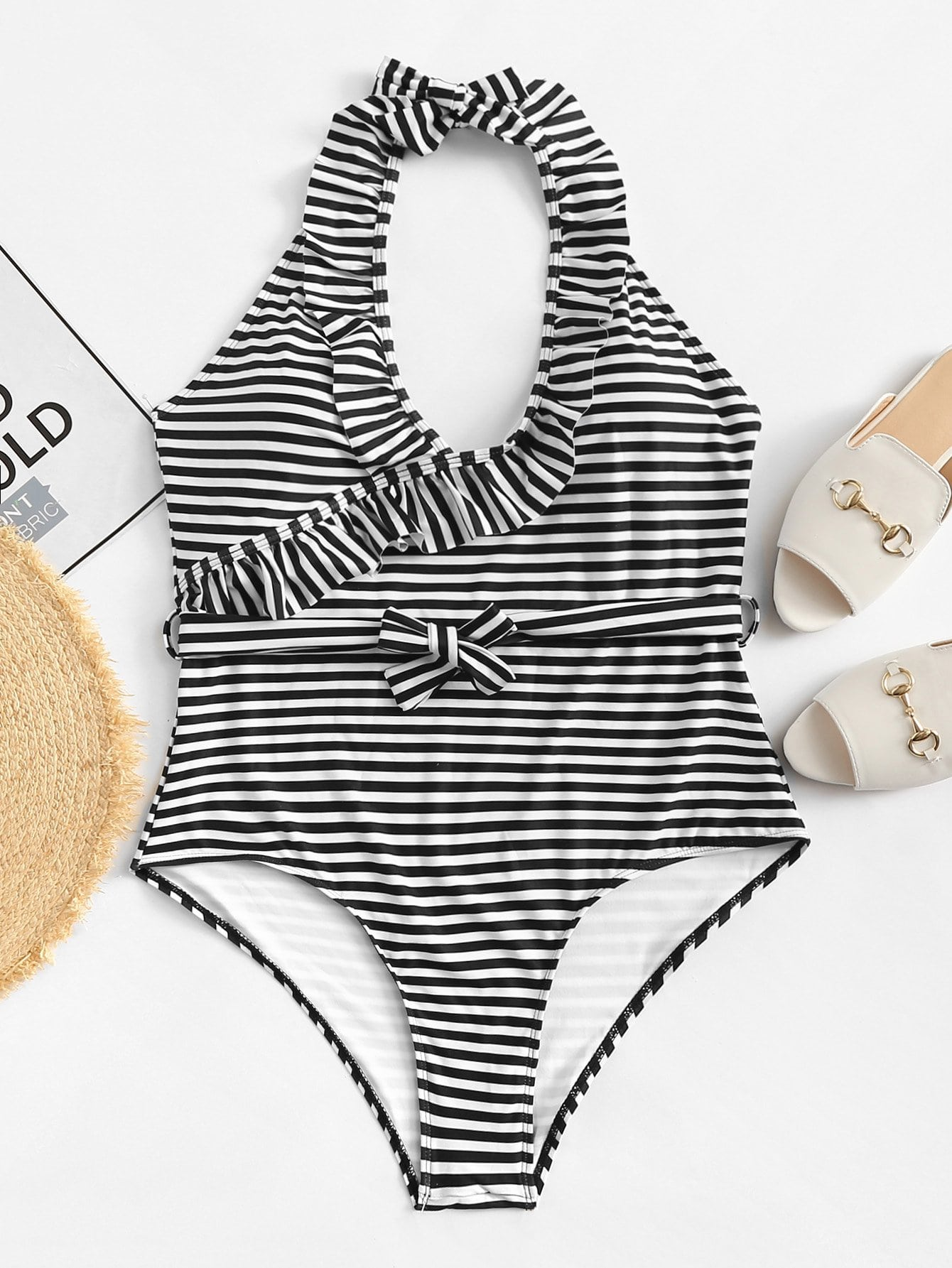 Plus Striped Ruffle Swimsuit