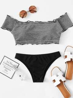 Lettuce Edge Glitter Bardot Bikini Set