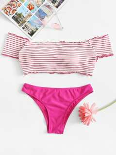 Striped Lettuce Edge Bardot Top With Seam Bikini