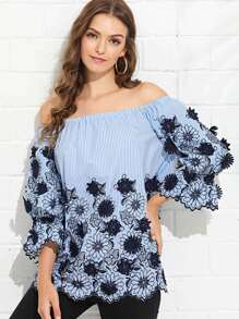 Floral Embroidery Striped Bardot Top