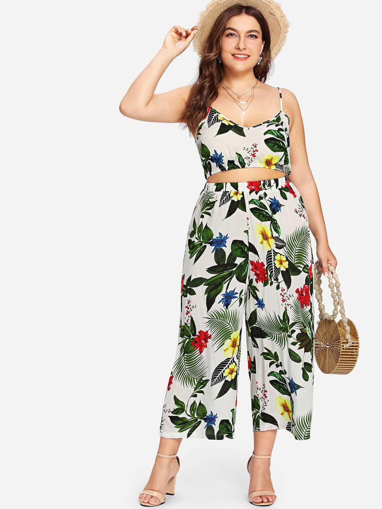 Plus Tropical Print Elastic Hem Cami Top & Palazzo Pants Set tropical print cami with pants