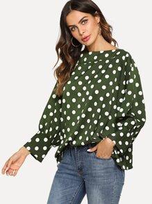 Polka Dots Batwing Sleeve Top