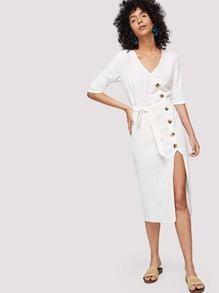 Asymmetric Buttoned Placket Belted Dress