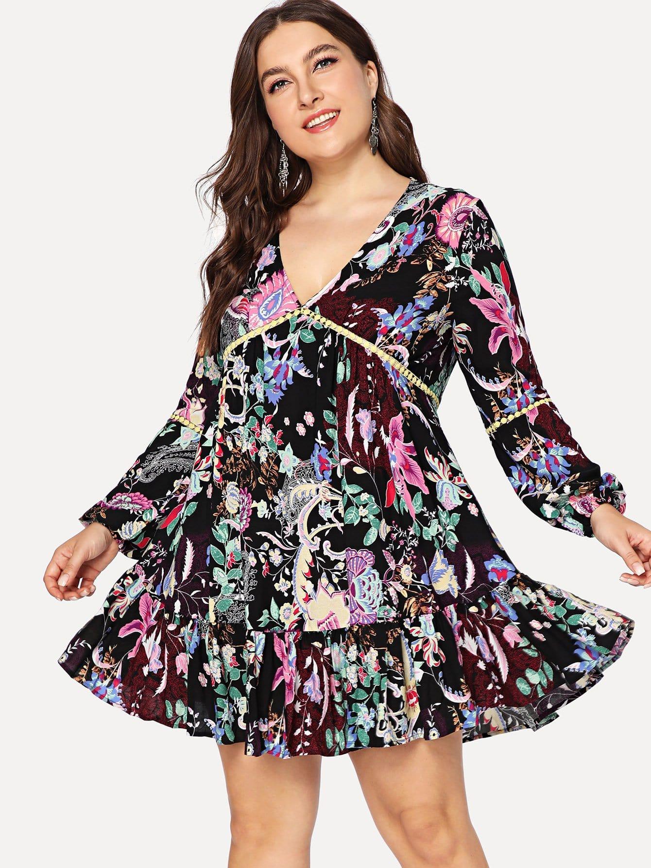 Dot Lace Insert Ruffle Hem Цветовое платье