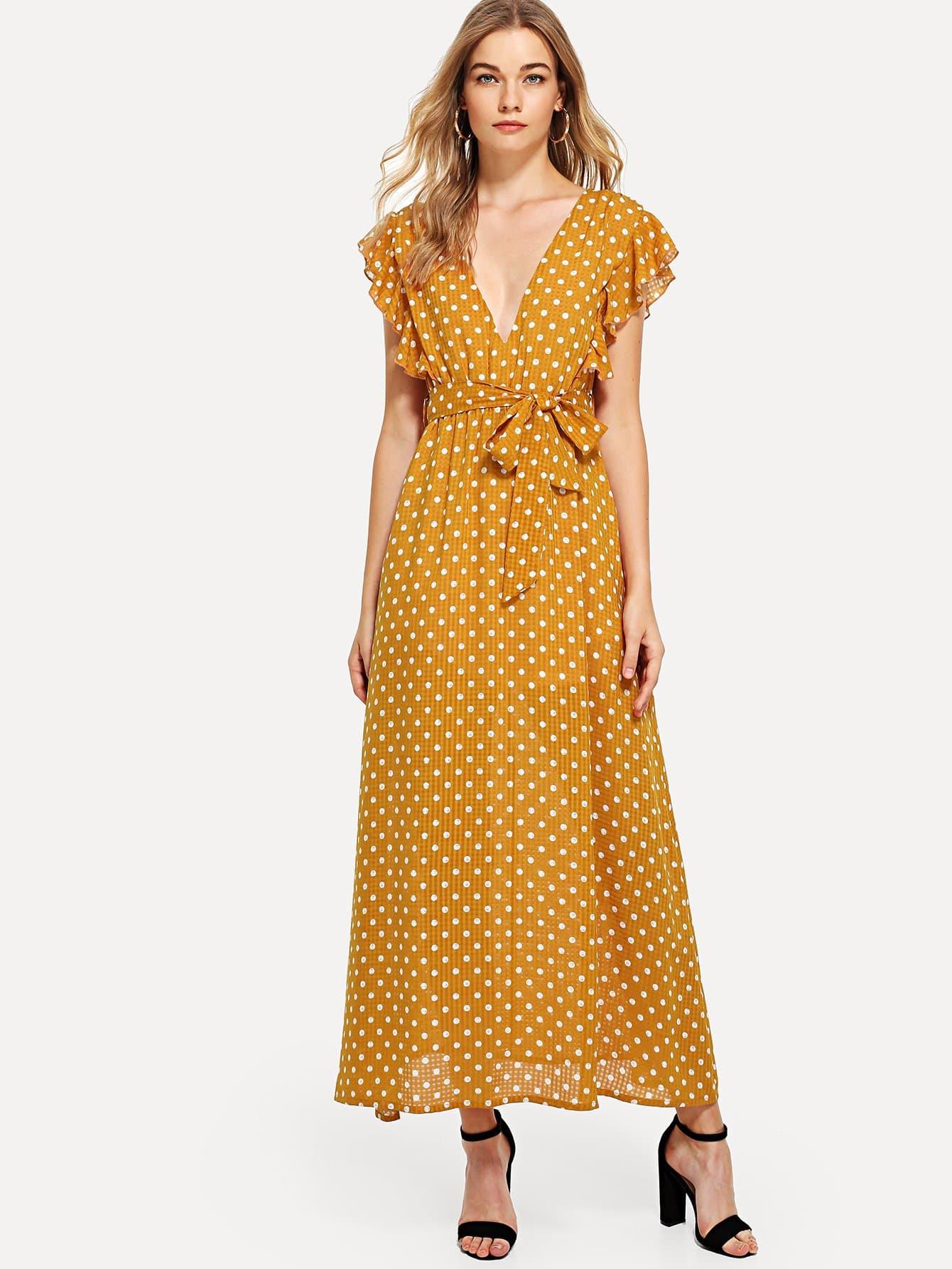 Ruffle Trim Belted Polka Dot Dress ruffle trim belted polka dot dress