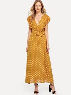 Ruffle Trim Belted Polka Dot Dress