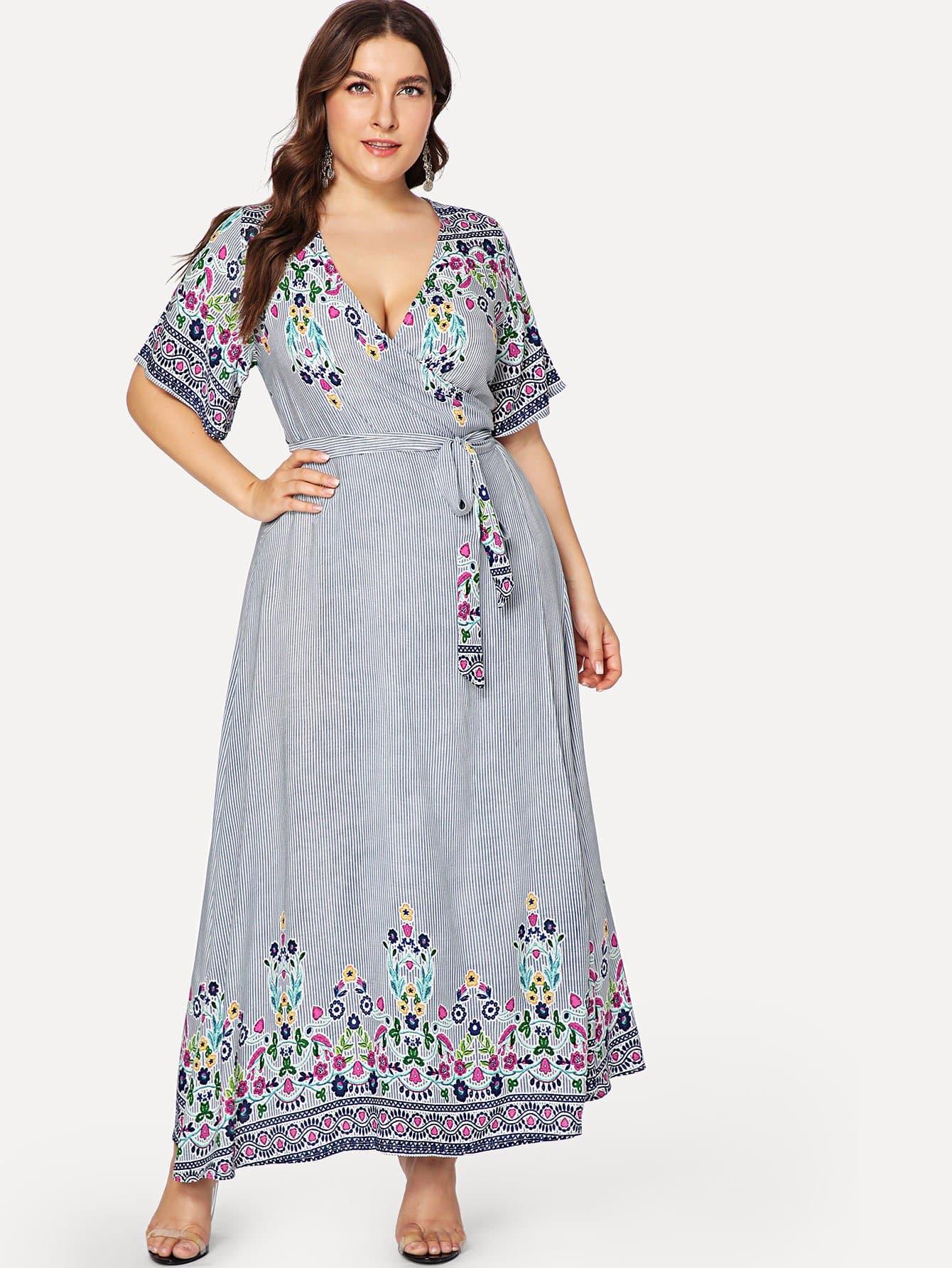 Surplice Neck Mixed Print Dress surplice neck mixed media dress