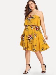 Plus Double Layer Floral Cami Dress