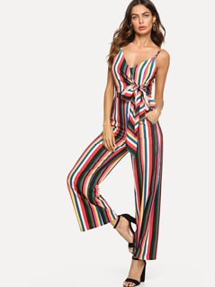 Striped Wrap Cami Jumpsuit