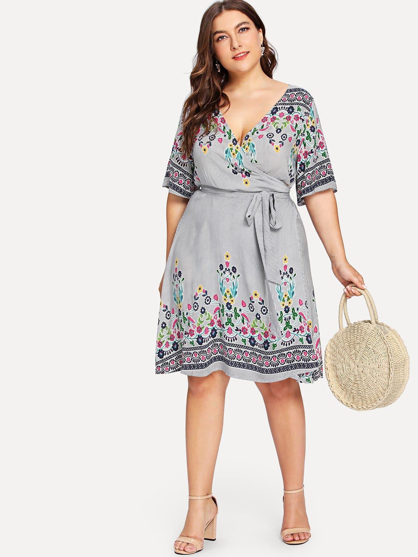Купить Цветочные и полосатые платья Wrap, Franziska, SheIn