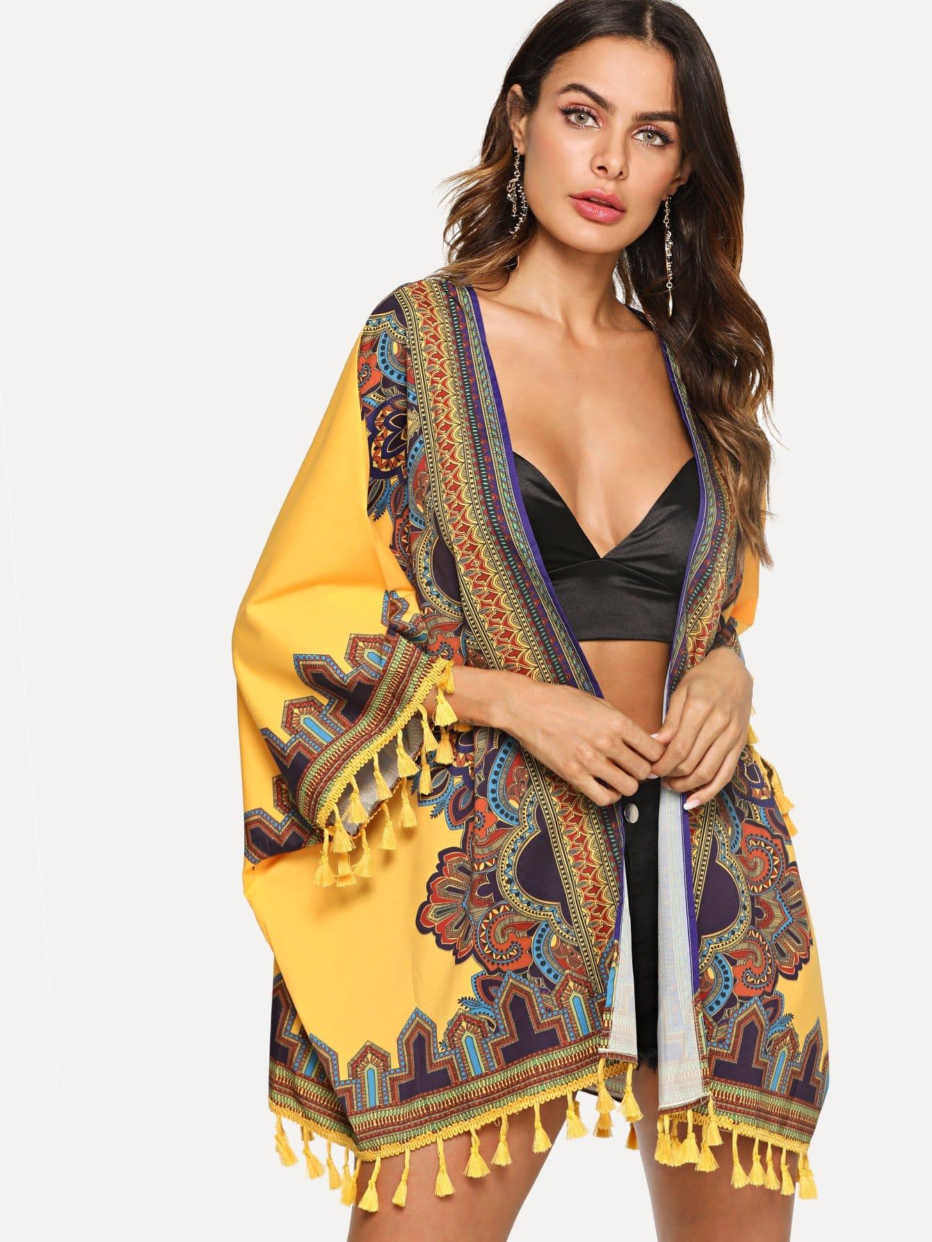 Tribal Print Tassel Embellished Longline Kimono tribal print longline dress
