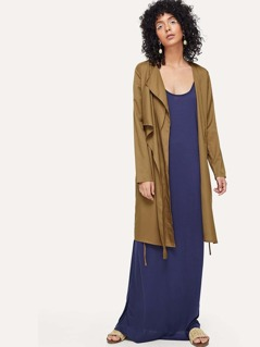 Drop Collar Knotted Duster Coat