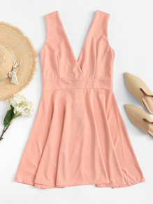 Deep V-Neckline Solid Dress