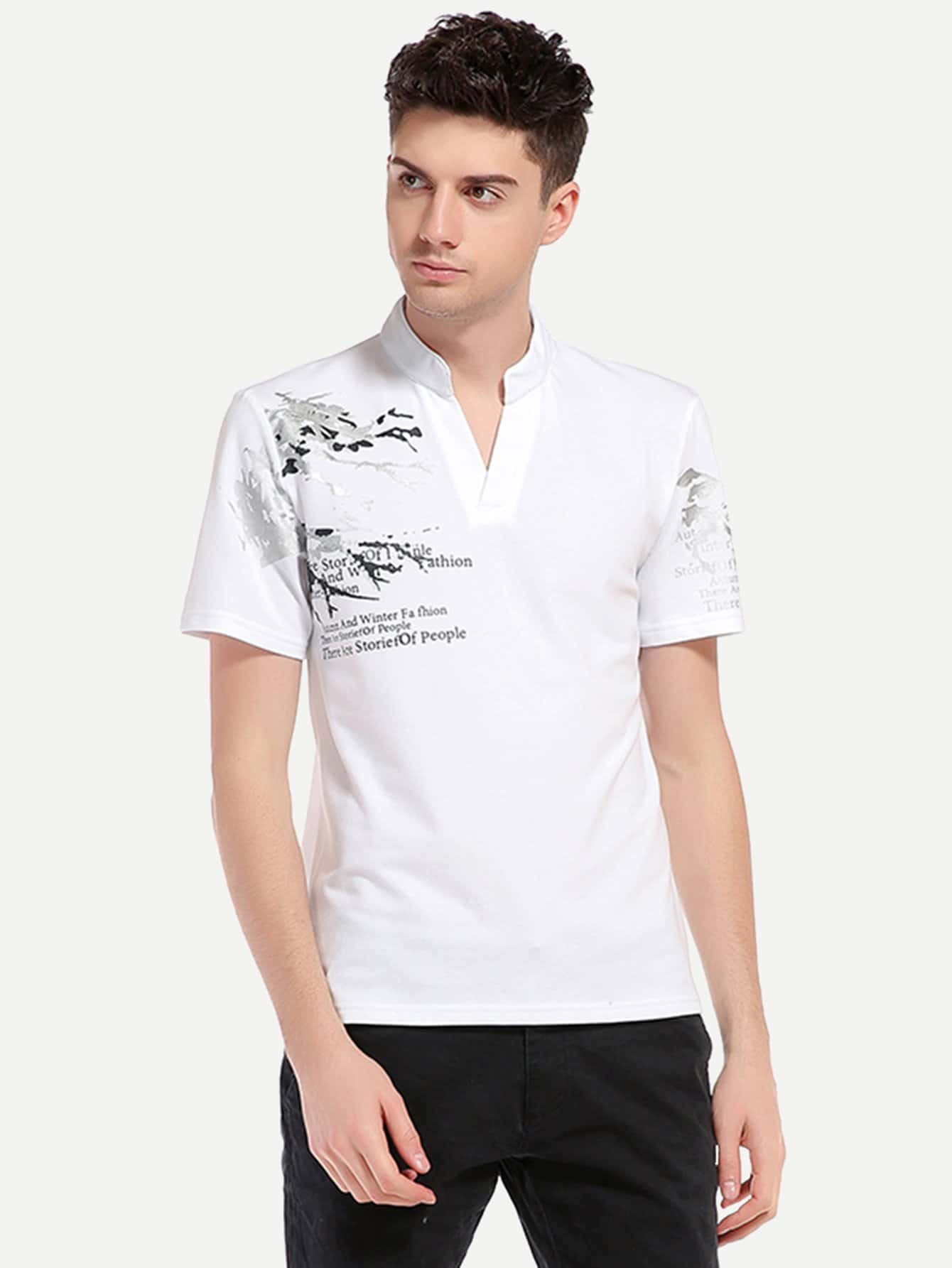 Мужская Письмо Печати Рубашки Поло