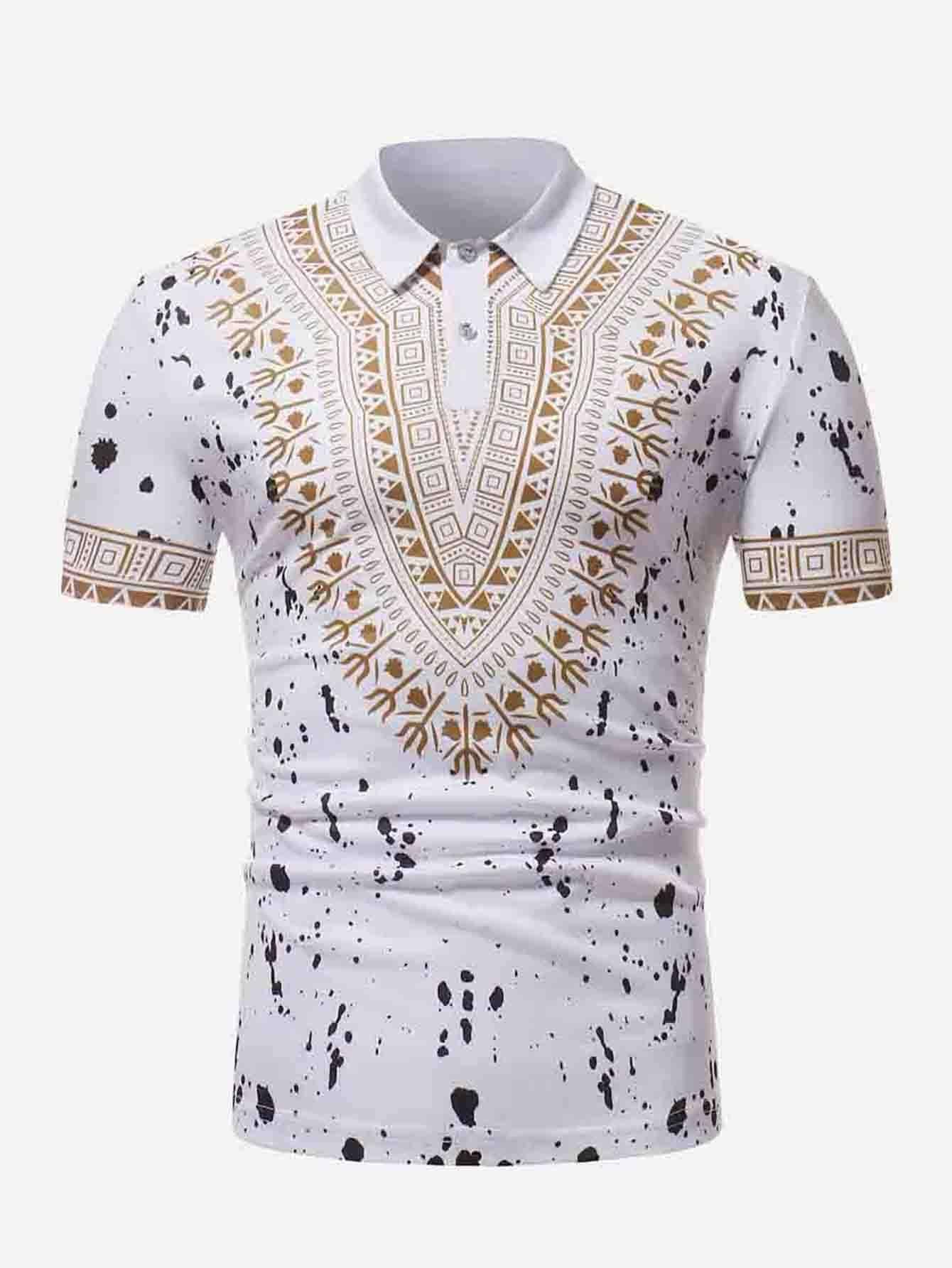 Мужчины Нарядным Принтом Брызг Краски Рубашка Поло