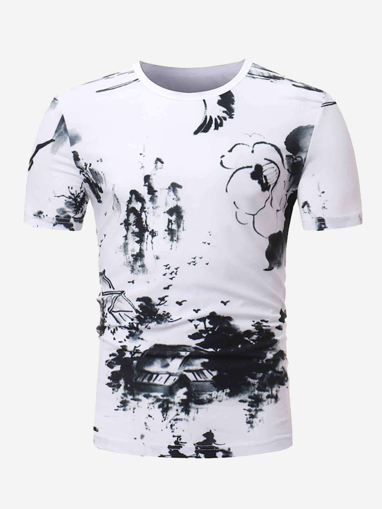 Men Ink Painting Tee men ink painting print tshirt