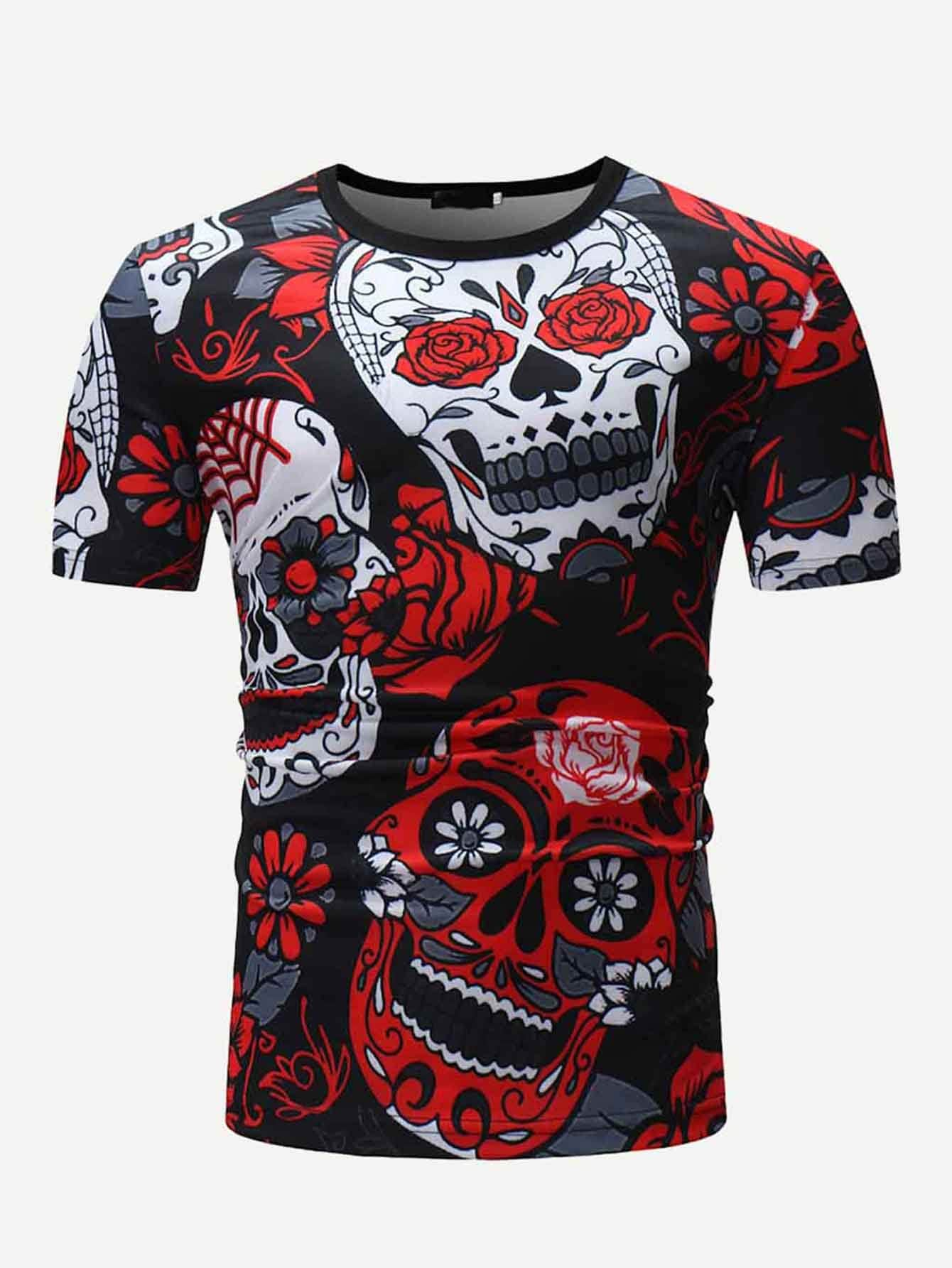 Men Skull And Floral Print Tee