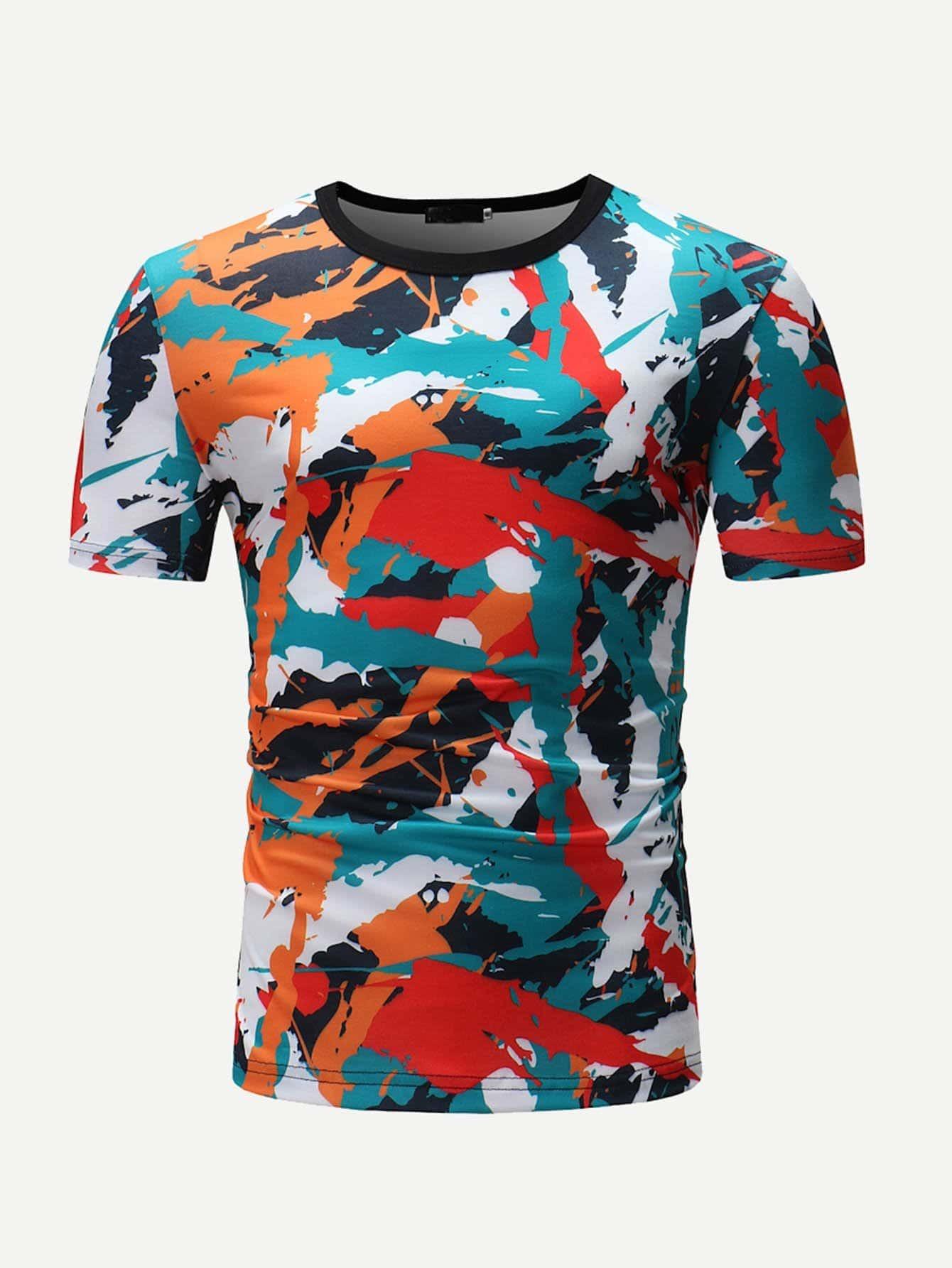 Men Colorful Geo Print Tee