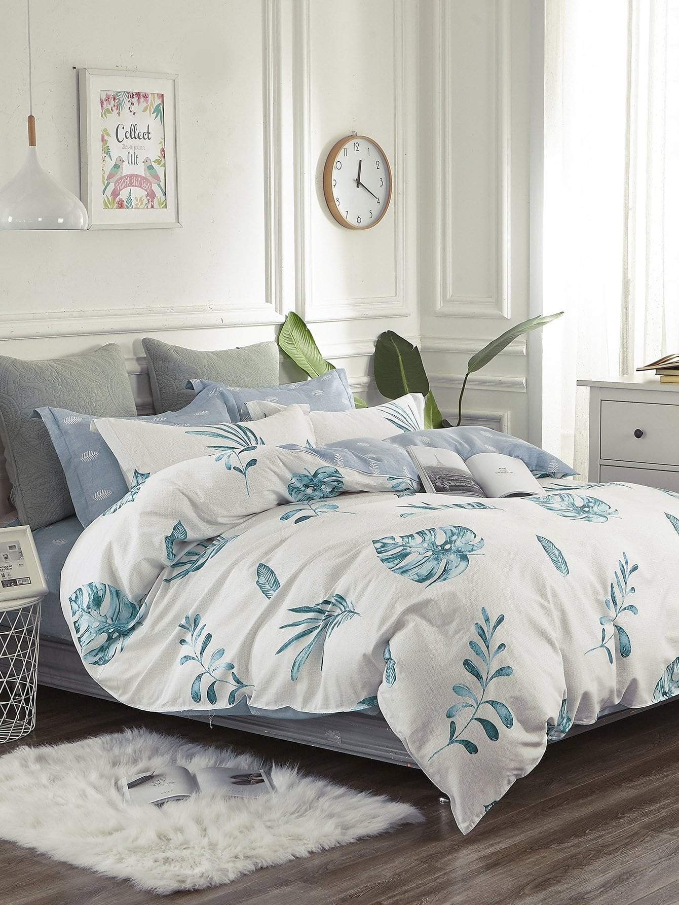 Allover Leaf Print Duvet Cover 1PC