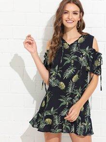 Open Shoulder Pineapple Print Ruffle Hem Jumpsuit