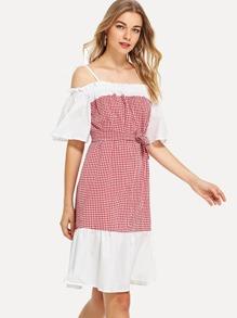 Self Tie Frill Trim Gingham Dress