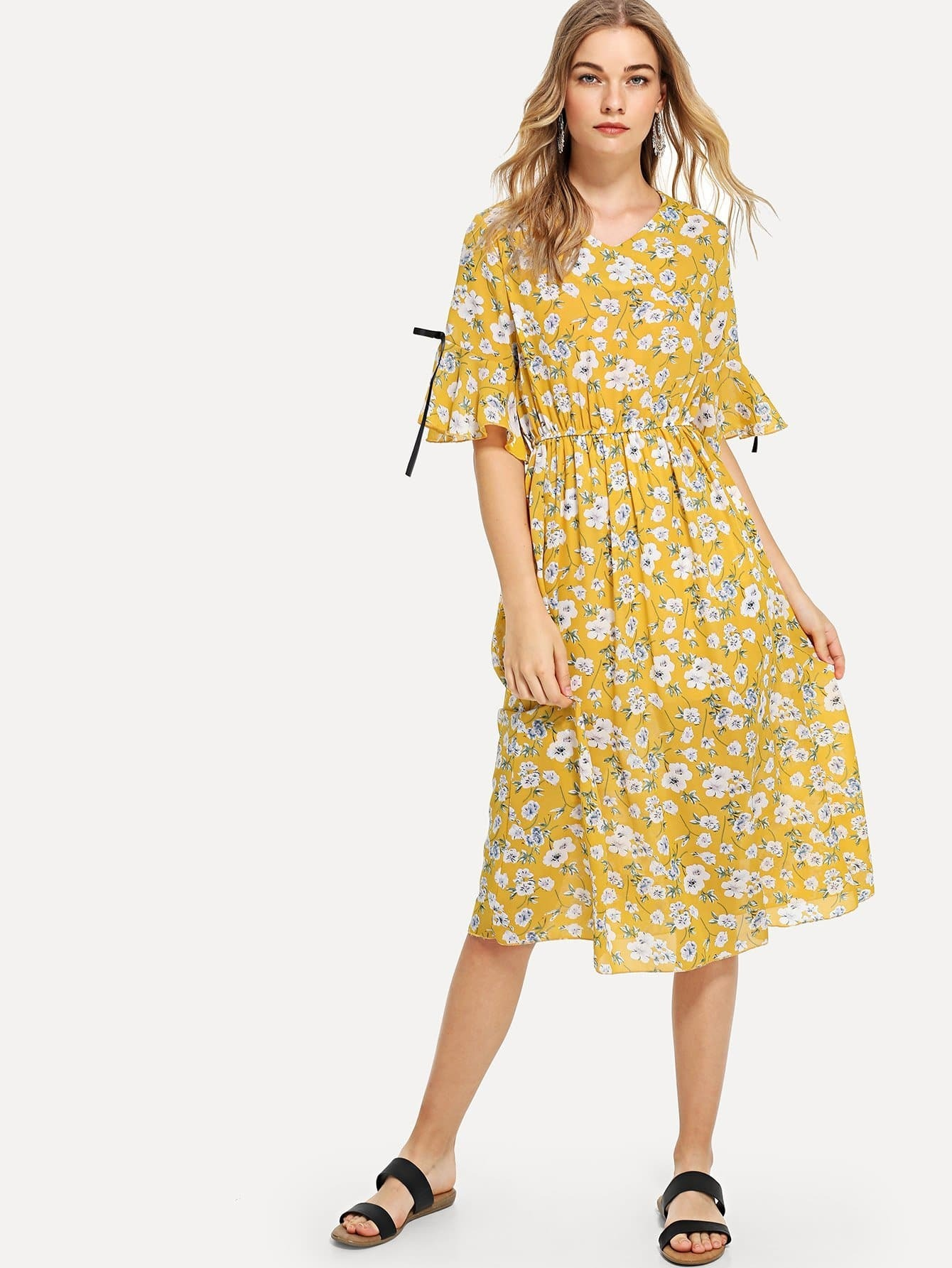 Ditsy Print Bow Detail Dress off shoulder ditsy dress