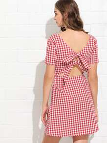 Knot Back Gingham Dress