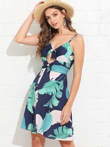 Bow Tie Front Tropical Print Cami Dress