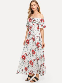 Off Shoulder Tiered Floral Dress