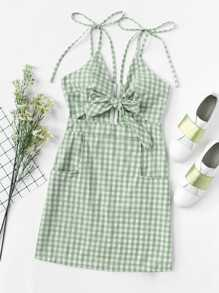 Tie Shoulder Knot Front Gingham Dress