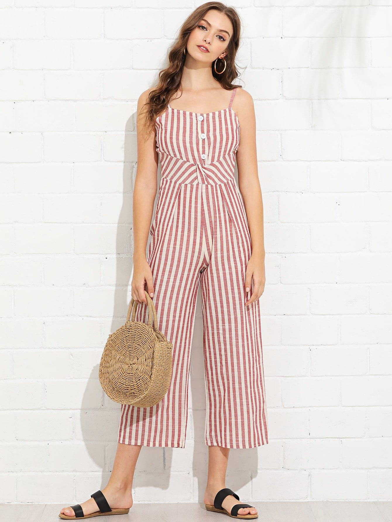 Striped Button Detail Cami Jumpsuit ring detail striped pinafore jumpsuit