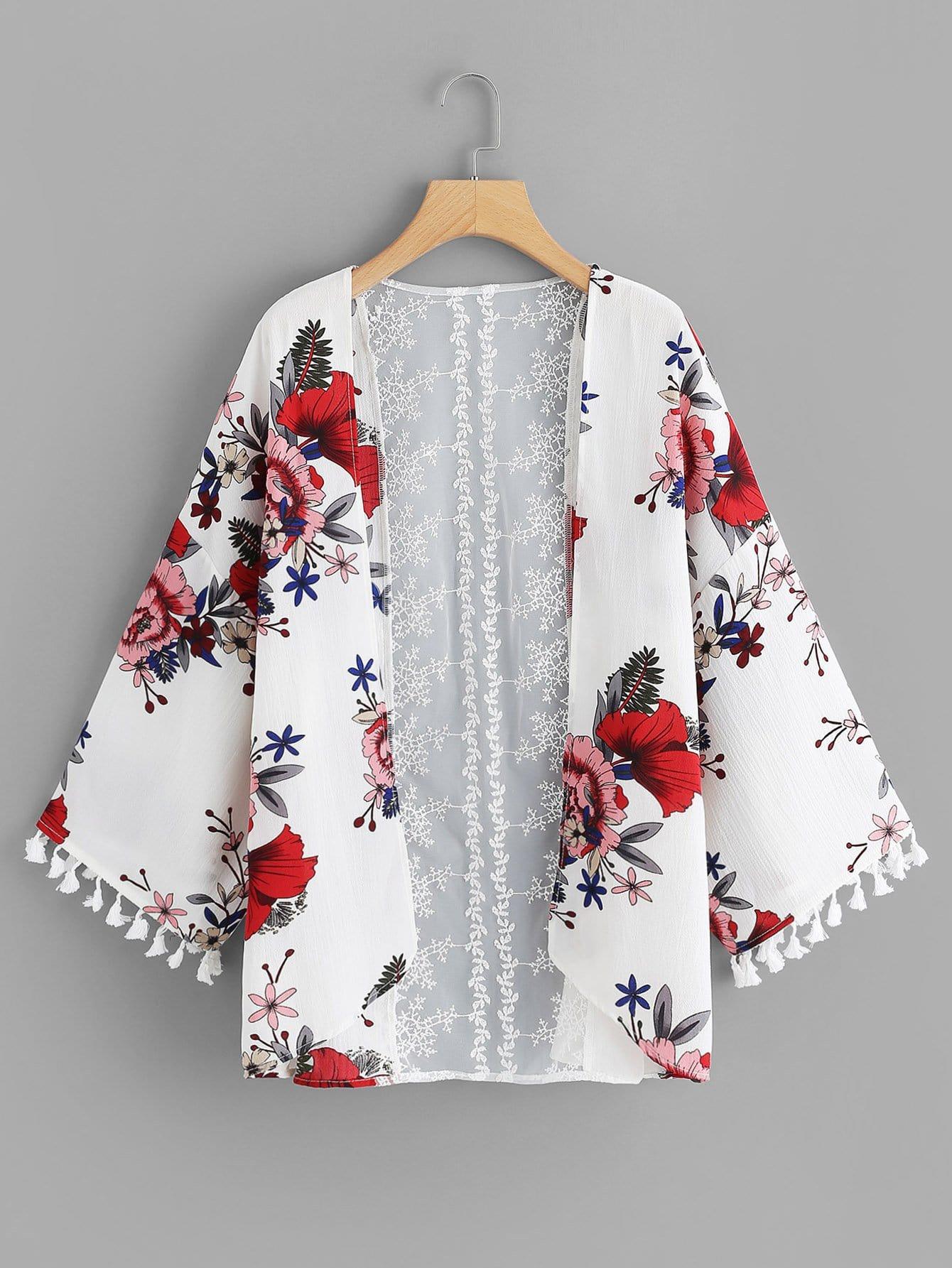Contrast Lace Tassel Trim Floral Print Kimono lace trim floral print kimono