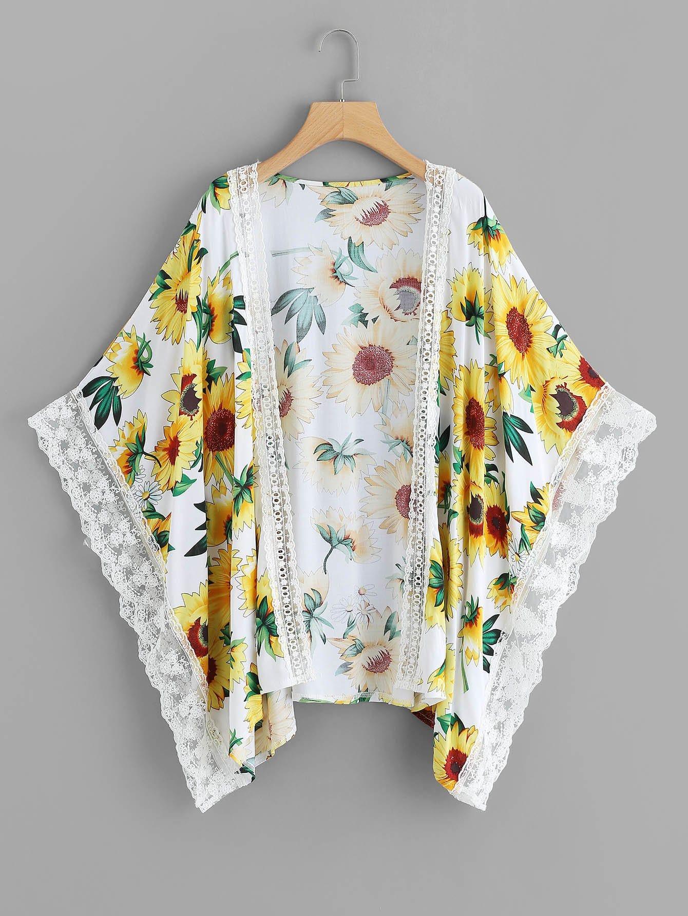Contrast Lace Trim Sunflower Print Kimono lace trim floral print kimono