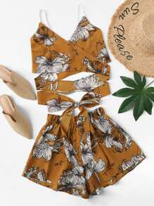 Floral Print Cross Knot Hem Top With Shorts