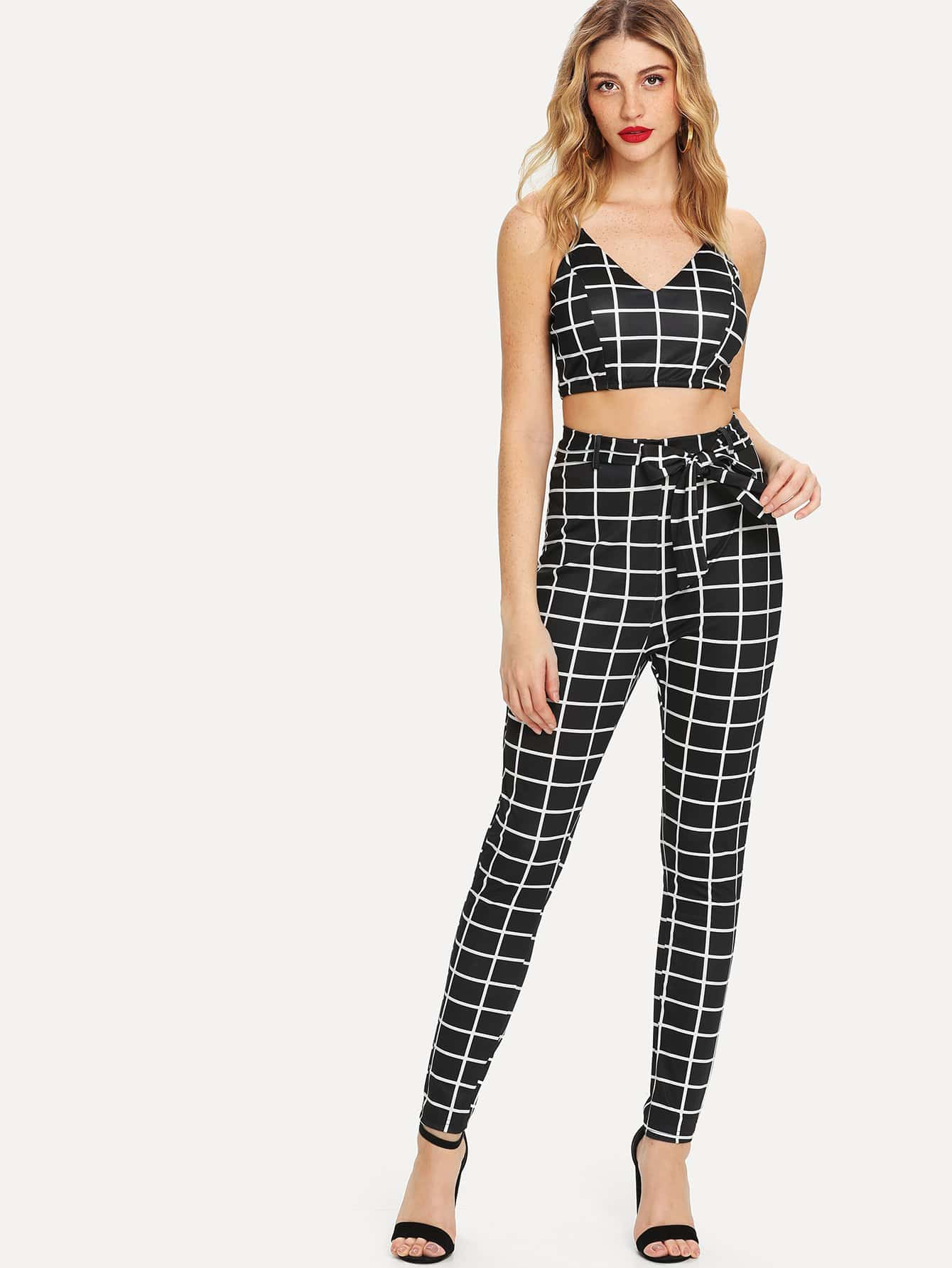 Grid Print Cami Top With Self Tie Leggings criss cross back self tie slub cami top