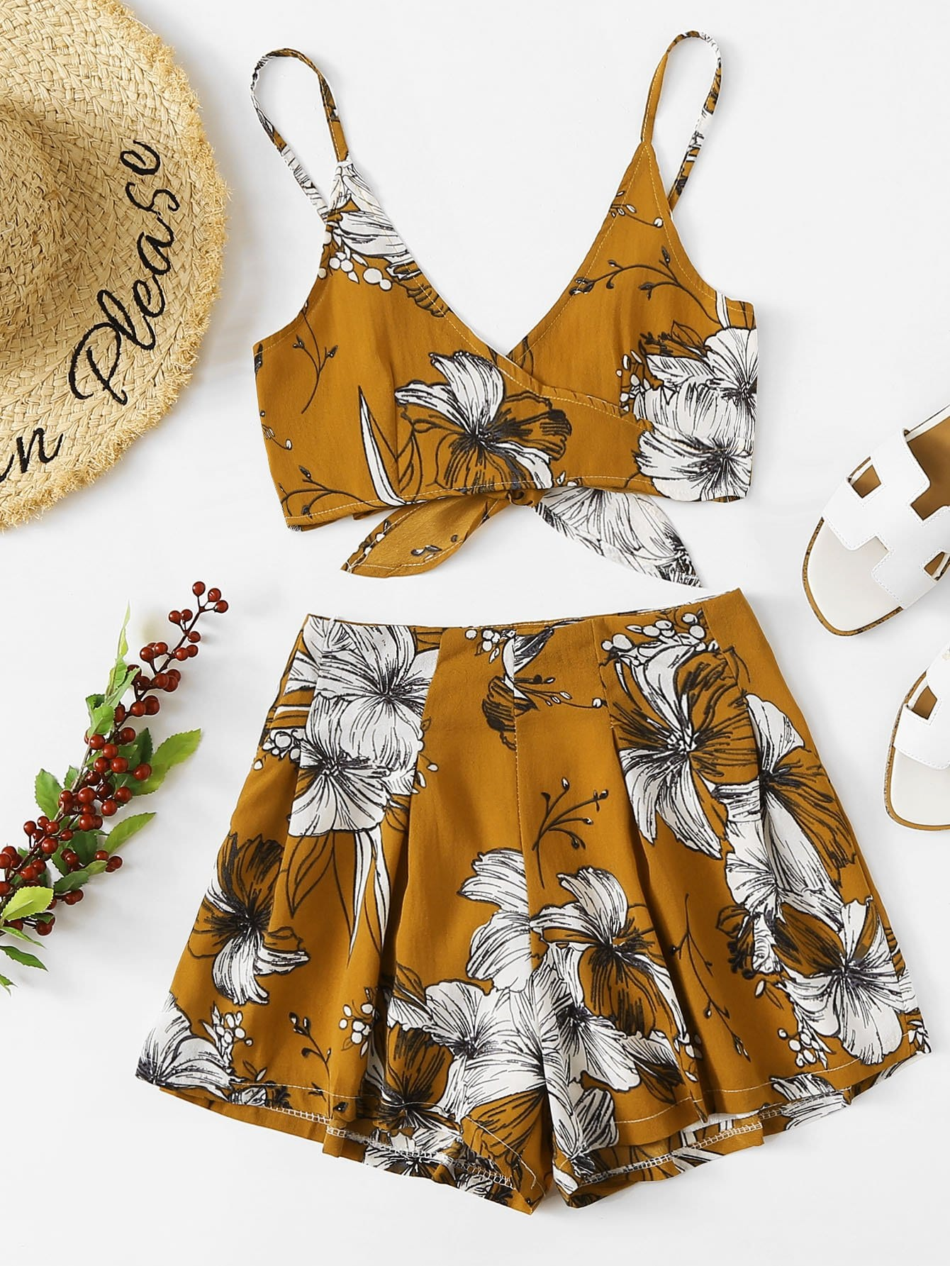 Floral Surplice Bow Tie Open Back Cami With Shorts surplice neckline self tie cami jumpsuit
