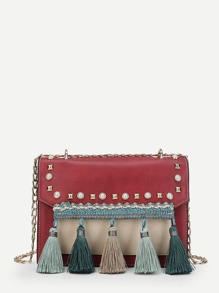 Tassel Detail Studded Chain Bag