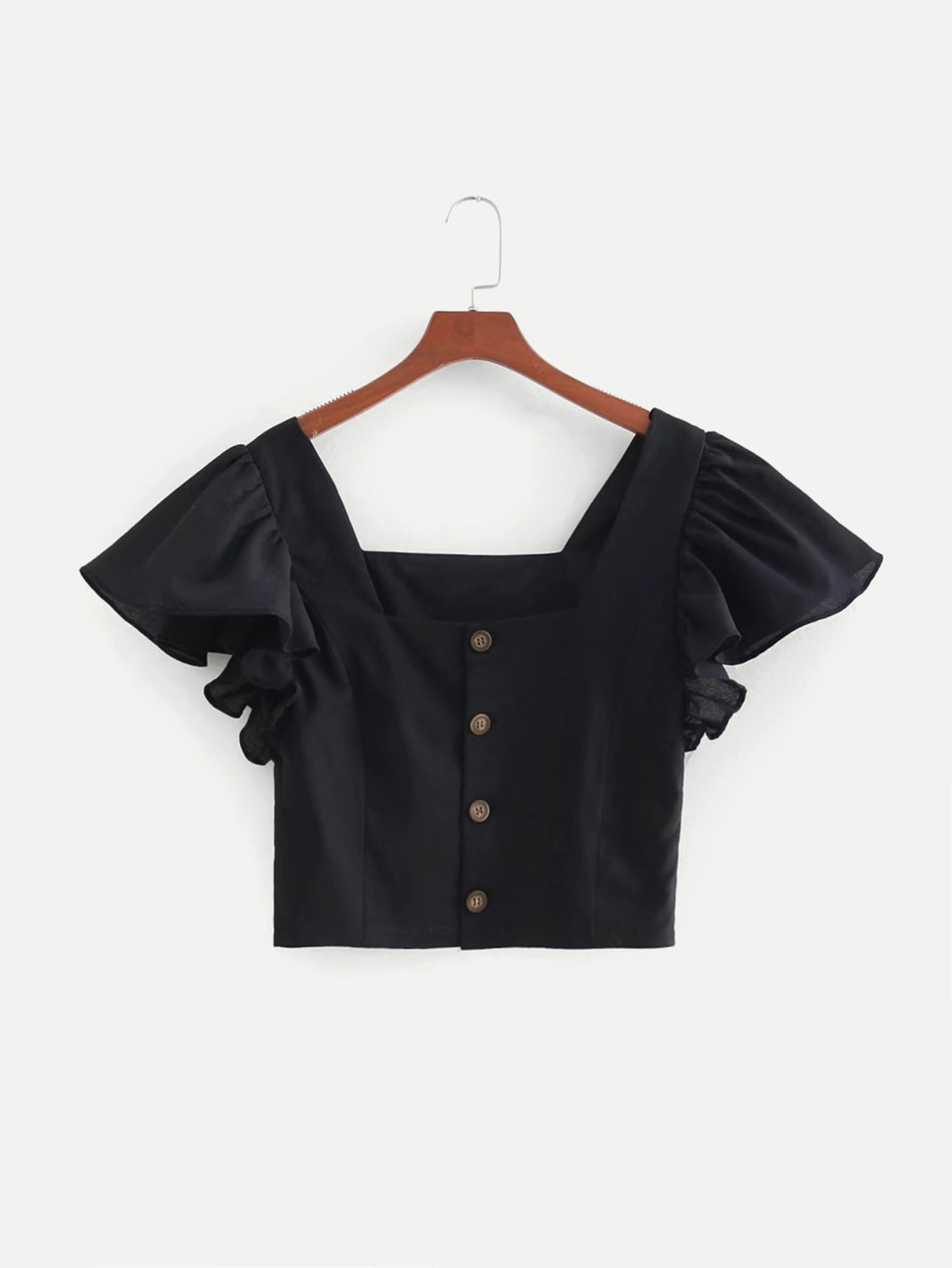 Butterfly Sleeve Button Through Crop Blouse button through crop top