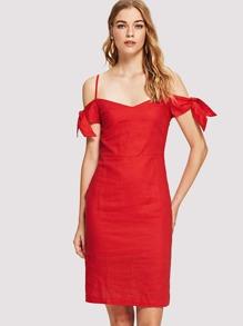 Tie Detail Slit Back Dress