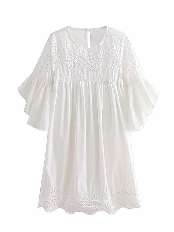 Eyelet Embroidered Ruffle Sleeve Babydoll Dress embroidered cap sleeve babydoll