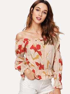Layered Ruffle Hem Floral Bardot Top