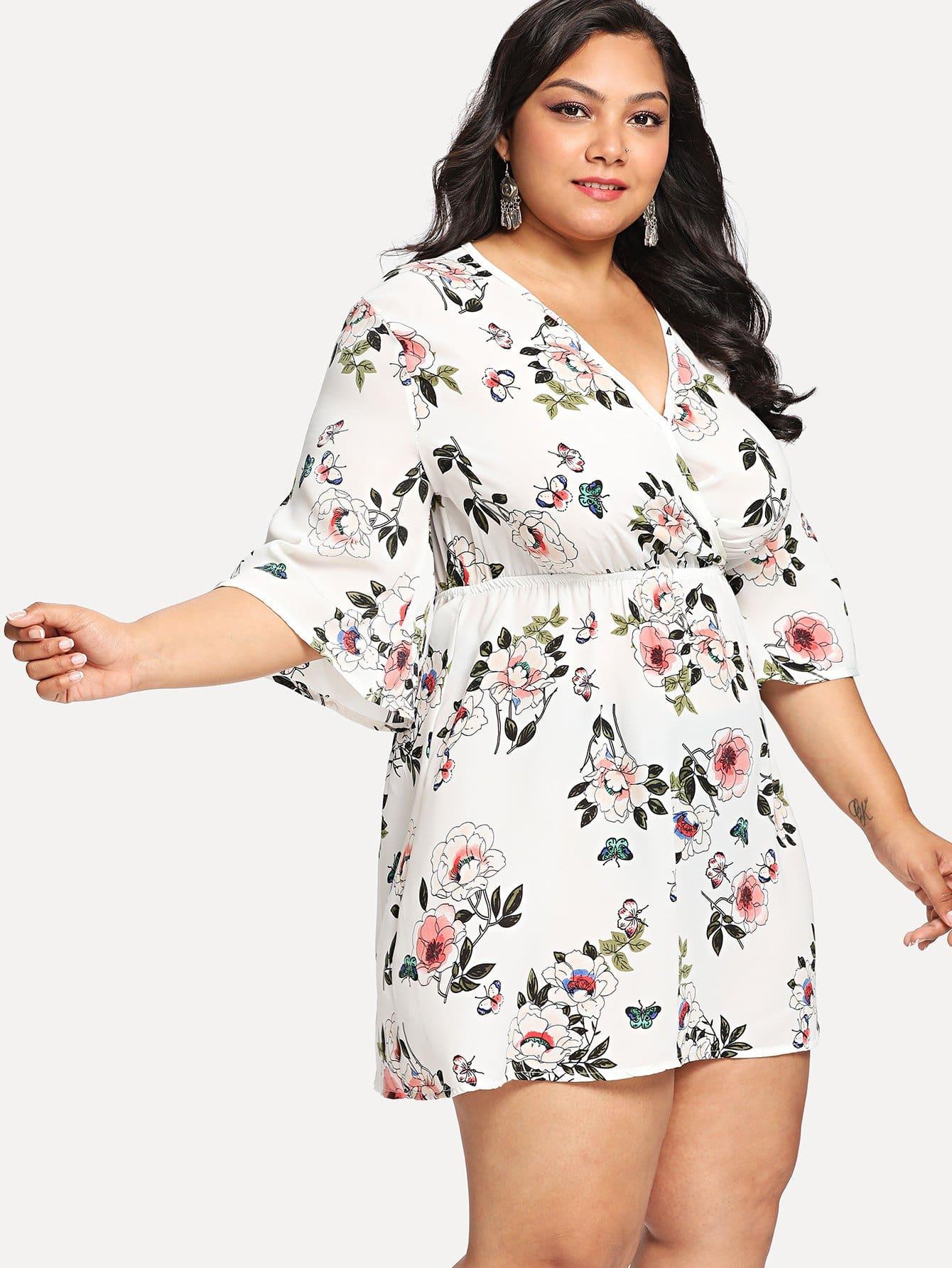 Купить Цветочное платье с запахом, Klawsia, SheIn