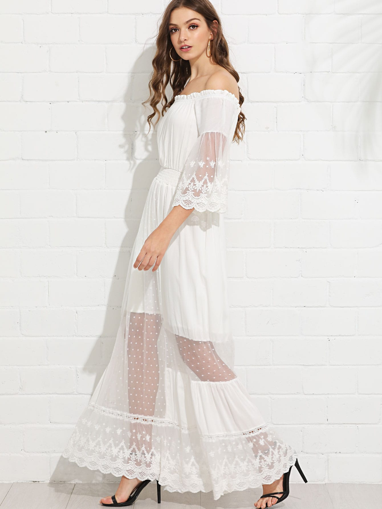 Mesh Panel Bell Sleeve Bardot Dress mesh panel sleeve dress