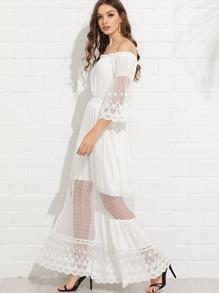 Mesh Panel Bell Sleeve Bardot Dress