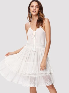 Tasseled Tie Front Layered Cami Dress